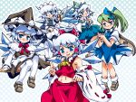 5girls cirno cirno_(cosplay) cosplay daiyousei hakurei_reimu hakurei_reimu_(cosplay) hat highres izayoi_sakuya izayoi_sakuya_(cosplay) kirisame_marisa kirisame_marisa_(cosplay) kochiya_sanae kochiya_sanae_(cosplay) multiple_girls sukiyo the_embodiment_of_scarlet_devil thigh-highs touhou witch witch_hat