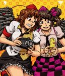 >:d 2girls :d aliasing angry bow breasts brown_eyes brown_hair camera cellphone cellphone_radio_bar checkered checkered_skirt clenched_teeth commentary double_spoiler female hair_bow hat himekaidou_hatate leg_up multiple_girls nail_polish necktie open_mouth phone polka_dot polka_dot_background ragathol red_eyes shameimaru_aya shirt skirt smile teeth tokin_hat touhou twintails wings