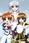 3girls absurdres beret blue_eyes blue_hair bow brown_eyes brown_hair clenched_hand fingerless_gloves gloves hair_ornament hair_ribbon hairclip hat highres long_hair lyrical_nanoha mahou_shoujo_lyrical_nanoha mahou_shoujo_lyrical_nanoha_a's mahou_shoujo_lyrical_nanoha_a's_portable:_the_battle_of_aces megami multiple_girls official_art okuda_yasuhiro open_mouth poster red_eyes reinforce ribbon schwertkreuz short_hair short_twintails silver_hair snow staff sweater takamachi_nanoha turtleneck twintails violet_eyes x_hair_ornament yagami_hayate