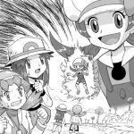 3girls blue_(pokemon) crystal_(pokemon) dragon_ball dragon_ball_z dragonball_z hat hat_ribbon kotone_(pokemon) lowres monochrome multiple_girls namek parody pokemoa pokemon pokemon_(game) pokemon_frlg pokemon_gsc pokemon_hgss pokemon_rgby ribbon thigh-highs