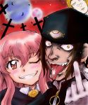 1girl 2boys artist_request beanie blonde_hair brown_hair cheek-to-cheek crazy_smile cross crossover dark_skin earrings fangs glasses gloves grin hair_between_eyes hat hellsing high_collar jan_valentine jewelry jpeg_artifacts lip_piercing long_hair louise_francoise_le_blanc_de_la_valliere luke_valentine middle_finger moon multiple_boys nose_piercing open_mouth piercing pink_eyes pink_hair slit_pupils smile tongue tongue_out tongue_piercing vampire wink yellow_eyes zero_no_tsukaima zipper
