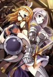 2girls absurdres annelotte armor armored_dress breasts highres large_breasts leina long_hair mask multiple_girls pants purple_hair queen's_blade queen's_blade_rebellion shield smile sword thigh-highs tiara tsurugi_hagane weapon