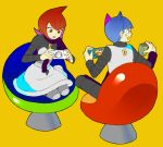 1boy 1girl bad_id blue_eyes blue_hair chair glucose handheld_game_console mars_(pokemon) pantyhose playing_games playstation_portable pokemon red_eyes redhead saturn_(pokemon) sitting team_galactic uniform