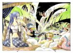 2girls 5boys angry antlers background backpack bag barefoot baseball_tee bird black_hair blonde_hair blue_hair bracelet breasts carue city cityscape cleavage color_spread cover cover_page denim duck eel fishing goggles goggles_on_head green_hair hair_over_one_eye hat jeans jewelry large_breasts lily_pad lizard long_hair medium_breasts midriff monkey_d_luffy multiple_boys multiple_girls nami_(one_piece) navel nefertari_vivi oda_eiichirou official_art one_piece orange_hair palm_tree pants pink_hat pitchfork plaid plaid_shirt plaid_skirt plant polearm princess raglan_sleeves reindeer roronoa_zoro sanji sarong shirt short_hair skirt smile spear straw_hat swim_trunks swimming tony_tony_chopper tree trident usopp water weapon wet yawning yellow_pants