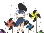 1girl bad_id black_hair ma-ya pinwheel school_uniform serafuku solo