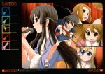 5girls absurdres akiyama_mio bakutendou bangs black_hair blonde_hair blue_eyes blunt_bangs blush brown_eyes brown_hair drumsticks eyebrows guitar hair_ornament hairband hairclip highres hime_cut hirasawa_yui instrument japanese_clothes k-on! kimono kotobuki_tsumugi les_paul long_hair microphone multiple_girls music mustang_(guitar) nakano_azusa open_mouth sandals short_hair short_kimono short_yukata singing smile sweat tainaka_ritsu twintails yukata