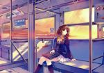 1girl abhar absurdres black_legwear brown_eyes brown_hair bus bus_interior ground_vehicle highres kneehighs misaki_kurehito motor_vehicle pleated_skirt sasaki_kaori school_uniform short_hair sitting skirt socks solo sunset ushinawareta_mirai_wo_motomete vehicle