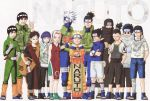 2girls 6+boys absurdres aburame_shino black_hair blonde_hair blue_eyes blue_hair body_writing character_name copyright_name dress eyebrows fingerless_gloves forehead_protector gaara glasses gloves haruno_sakura hatake_kakashi highres hyuuga_hinata hyuuga_neji kishimoto_masashi konohagakure_symbol might_guy multiple_boys multiple_girls nara_shikamaru naruto ninja official_art one_eye_closed pink_hair rock_lee scroll uchiha_itachi uchiha_sasuke umino_iruka uzumaki_naruto white_eyes wink