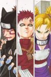 1girl 2boys absurdres armor blonde_hair body_writing breasts brother_and_sister brothers cleavage colored facial_mark fingerless_gloves forehead_protector gaara gloves green_eyes highres kankuro kishimoto_masashi looking_at_viewer multiple_boys naruto ninja official_art redhead scar serious shueisha siblings smile sunagakure_symbol temari