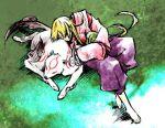 amaterasu animal blonde_hair goddess grass hakama japanese_clothes long_hair lowres male ookami_(game) sleeping ushiwakamaru wolf