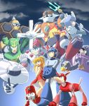 2girls 6+boys beat_(rockman) capcom concreteman eddie_(rockman) fire fuyuwa_kotatsu galaxyman hornetman jewelman magmaman multiple_boys multiple_girls plugman polearm robot rockman rockman_(character) rockman_(classic) rockman_9 roll rush_(rockman) spear splash_woman tornadoman trident weapon