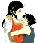 !? 1boy 1girl amazon amazon_lily between_breasts black_hair blush boa_hancock breast_smother breasts cleavage earrings height_difference hug huge_breasts jacket_on_shoulders jewelry kinako_(marubotan) long_hair monkey_d_luffy one_piece scar shichibukai size_difference