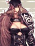 1girl armor bird blonde_hair blue_eyes breasts brown_hair cleavage eagle epharr erect_nipples fumio_(rsqkr) fur hair_over_one_eye helm helmet long_hair microsoft ninety-nine_nights sketch solo