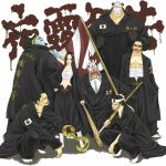 1girl 6+boys :p alternate_costume anger_vein animal_ears banchou bandage bartholomew_kuma baseball_bat beard belt black_hair blonde_hair blue_skin boa_hancock bokken bousouzoku chains clothes_writing cocotri delinquent donquixote_doflamingo dracule_mihawk earrings face_mask facial_hair fangs flag gecko_moria gloves graffiti hand_on_hip headband highres hips hook_hand horns jewelry jimbei long_hair looking_at_viewer mask monster_boy multiple_boys nail nail_bat necklace one_piece open_mouth ring sarashi scar school_uniform sharp_teeth shichibukai shinai short_hair simple_background sir_crocodile socks squatting standing stitches sukeban sunglasses surgical_mask sword tabi teeth tokkoufuku tongue tongue_out weapon white_background white_skin wooden_sword