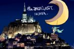 architecture bad_id city gothic_architecture hatsune_miku kansou_samehada mont_st-michel moon twintails vocaloid