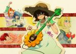 5girls bad_id blonde_hair blue_eyes blue_hair brown_eyes brown_hair character_request green_eyes guitar hat instrument k-on! multiple_girls red_eyes redhead ringo78 straw_hat takanashi_ringo
