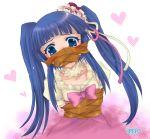1girl agari_shou bad_id bdsm blue_eyes blue_hair blush bondage bound bow child crying crying_with_eyes_open dress flower furudo_erika gag gagged improvised_gag pink_bow rose solo tape tape_gag tears twintails umineko_no_naku_koro_ni