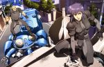 absurdres armor batou bodysuit cyborg fingerless_gloves ghost_in_the_shell ghost_in_the_shell_stand_alone_complex gloves highres kusanagi_motoko mecha ponytail purple_hair red_eyes road short_hair street tachikoma tree white_hair