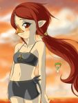 1girl beak bikini blush brown_hair chenge-getter link long_hair lowres medli midriff monster_girl navel nintendo nude photobomb pointy_ears ponytail red_eyes rito sarong smile swimsuit the_legend_of_zelda the_legend_of_zelda:_the_wind_waker toon_link