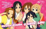5girls absurdres akiyama_mio black_eyes black_hair blonde_hair blue_eyes brown_eyes brown_hair costume engrish highres hirasawa_yui japanese_clothes k-on! kotobuki_tsumugi long_hair multiple_girls nakano_azusa official_art ranguage short_hair tainaka_ritsu tongue translation_request twintails v wink yamada_naoko