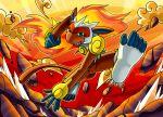 blue_eyes dust endless_whispers fire infernape monkey no_humans pokemon smile solo tail