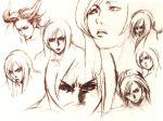 1girl aya_brea expressions monochrome nomura_tetsuya sketch