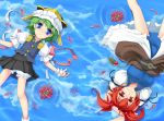 2girls arms_behind_head arms_up blue_eyes clouds female flower from_above green_hair hair_bobbles hair_ornament hat lying multiple_girls on_back onozuka_komachi red_eyes redhead reflection rotational_symmetry shiki_eiki short_hair smile spider_lily touhou twintails wapokichi water