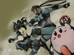00s 1boy beard blue_eyes bomb brown_hair facial_hair hachimaki headband kirby kirby_(series) lucario metal_gear_(series) metal_gear_solid nintendo pokemon pokemon_(creature) red_eyes smile solid_snake star_fox super_smash_bros.
