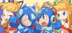 2boys 2girls :d arm_cannon bangs battle blonde_hair blue_eyes blunt_bangs blush capcom chibi dual_persona evil_grin evil_smile grin multiple_boys multiple_girls open_mouth rockman rockman? rockman_(character) rockman_(classic) roll round_teeth smile teeth weapon