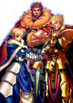 1girl absurdres ahoge armor avalon_(fate/stay_night) beard blonde_hair blue_eyes cape earrings excalibur facial_hair fate/stay_night fate/zero fate_(series) gauntlets gilgamesh highres huge_filesize itou_ben jewelry king multiple_boys photoshop planted_sword planted_weapon red_eyes redhead rider_(fate/zero) saber sheath sheathed short_hair sword type-moon weapon