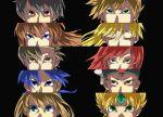 4girls 6+boys atlus blue_(pokemon) brown_hair column_lineup crystal_(pokemon) emerald_(pokemon) gold_(pokemon) multiple_boys multiple_girls nintendo odamaki_sapphire ookido_green parody persona persona_eyes pokemon pokemon_(game) pokemon_gsc pokemon_rgby pokemon_special red_(pokemon) red_(pokemon)_(classic) ruby_(pokemon) silver_(pokemon) yellow_(pokemon)