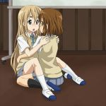 2girls blonde_hair blue_eyes blush brown_eyes brown_hair hirasawa_yui k-on! kotobuki_tsumugi long_hair mountain_pukuichi multiple_girls school_uniform yuri