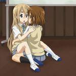 2girls blonde_hair blue_eyes blush brown_eyes brown_hair hirasawa_yui k-on! kotobuki_tsumugi long_hair mountain_pukuichi multiple_girls school_uniform yuri