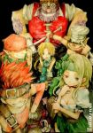 1girl 5boys bad_id baku_(ff9) bandanna blank breasts cinna cleavage final_fantasy final_fantasy_ix gloves hammer helmet ina_(gonsora) marcus mask multiple_boys nero_brothers ruby ruby_(ff9) zidane_tribal