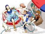 2girls 3boys amada_ken arisato_minato atlus barefoot bikini_top denim denim_shorts dog dress drink food from_above hose ice_cream inflatable_pool iori_junpei koromaru kumo kumoya_yukio megami_tensei multiple_boys multiple_girls persona persona_3 pool popsicle relaxing shorts star_print summer sundress takeba_yukari wading_pool water water_gun yamagishi_fuuka yuuki_makoto