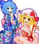 2girls bad_id blonde_hair blue_eyes blue_hair cirno female flandre_scarlet food hat japanese_clothes kedama_keito kimono multiple_girls ponytail red_eyes shaved_ice short_hair side_ponytail the_embodiment_of_scarlet_devil touhou