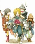 3boys adelbert_steiner armor bad_id black_hair blonde_hair blue_eyes boots final_fantasy final_fantasy_ix garnet_til_alexandros_xvii gloves hat helmet ina_(gonsora) knight male_focus multiple_boys open_mouth piggyback skull summoner summoner_(final_fantasy) sword tail vivi_ornitier weapon wizard_hat zidane_tribal