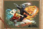 2boys aang avatar:_the_last_airbender avatar_(series) bald fire mask multiple_boys nickelodeon ninja staff sword torata weapon wind zuko