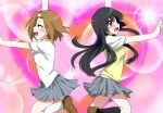 2girls akiyama_mio back-to-back black_eyes black_hair blush brown_hair closed_eyes dancing k-on! marimo_danshaku multiple_girls school_uniform short_hair tainaka_ritsu