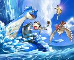 90s blue lapras laughing md5_mismatch meowth no_humans ocean pidgeotto pikachu pokemon pokemon_(anime) pokemon_(game) pokemon_rgby satou_mami waving