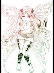 1girl barefoot fairy goddess green highres ilvana lineart long_hair original solo tattoo wings