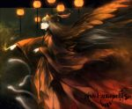 bad_id fire glowing glowing_eyes grey_hair hat long_hair pixiv pixiv_fantasia pixiv_fantasia_3 red_eyes robe ryou_(kimagure) wings
