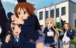 4girls absurdres akitake_seiichi akiyama_mio bangs blunt_bangs blush highres hime_cut hirasawa_yui k-on! kotobuki_tsumugi multiple_girls pantyhose school_uniform tainaka_ritsu