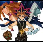 1girl 2boys aqua_eyes belt beltskirt blonde_hair brown_hair card dark_magician dark_magician_girl detached_sleeves duel_disk duel_monster hat holding holding_card kuriboh lazward long_hair monster multiple_boys mutou_yuugi one_eye_closed pile_of_cards redhead silver_hair wink witch_hat yami_yuugi yu-gi-oh! yuu-gi-ou_duel_monsters