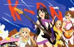 4girls absurdres akiyama_mio bass_guitar black_eyes black_hair blonde_hair blue_eyes brown_eyes brown_hair cadillac car casual detexted drumsticks elbow_gloves fuwafuwa_time gloves ground_vehicle guitar hairband headband highres hirasawa_yui instrument ishidate_taichi k-on! kotobuki_tsumugi les_paul long_hair mod_fashion motor_vehicle multiple_girls official_art pantyhose short_hair tainaka_ritsu vehicle very_long_hair white_legwear