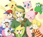 1girl 5boys black_hair blonde_hair blue_eyes brown_eyes brown_hair child earrings gloves hanjuku_tomato hat hood hug ice_climber ice_climbers jewelry jigglypuff kirby kirby_(series) link lucas mario_(series) mother_(game) mother_2 mother_3 multiple_boys nana nana_(ice_climber) ness nintendo pikachu pointy_ears pokemon popo popo_(ice_climber) smile super_mario_bros. super_smash_bros. tail the_legend_of_zelda the_legend_of_zelda:_the_wind_waker the_legend_of_zelda:_twilight_princess toon_link yoshi