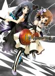 "2girls akiyama_mio arm_warmers bad_id bass_guitar black_&_white black_dress blue_legwear checkered checkered_floor don't_say_""lazy"" dress facepaint floor guitar hat highres hirasawa_yui instrument k-on! kujou_ichiso les_paul mini_hat mini_top_hat multiple_girls pantyhose paterned_legwear patterned_legwear shoes striped striped_legwear top_hat vertical-striped_legwear vertical_stripes white_dress"