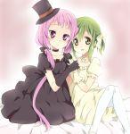 bad_id brown_eyes dress gloves green_hair hand_holding kl-chan long_hair maruki_(punchiki) mono_(character) pantyhose pink_eyes pink_hair twintails white_legwear