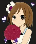 "1girl amagu bad_id bouquet brown_eyes brown_hair don't_say_""lazy"" female flower hirasawa_yui k-on! short_hair simple_background solo"
