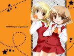 blonde_hair brown_hair food fruit hidamari_sketch miyako orange school_uniform wallpaper yuno